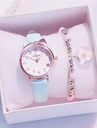cheap -Kids Quartz Watches Quartz Fashion Chronograph Analog White Black Blue / PU Leather
