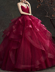 cheap -Ball Gown Glittering Luxurious Quinceanera Engagement Dress V Neck Sleeveless Floor Length Tulle with Tier 2020