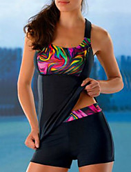 cheap -Women's Tankini Swimsuit Print Geometric Black Swimwear Bathing Suits Sexy / Padded Bras
