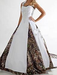 זול -גזרת A שמלות חתונה צווארון V שובל סוויפ \ בראש סאטן ללא שרוולים פורמאלי הסוואה עם תחרה משולבת 2020