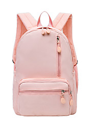 cheap -Women's Nylon School Bag Rucksack Commuter Backpack Large Capacity Waterproof Zipper Solid Color School Daily Blushing Pink