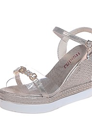 cheap -Women's Sandals Summer Wedge Heel Open Toe Daily PU Gold / Silver