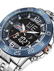 cheap -KT Men's Sport Watch Quartz Sporty Army Water Resistant / Waterproof Analog - Digital White+Blue Black+Gloden Silver+Orange / Stainless Steel / Japanese / Calendar / date / day / Chronograph