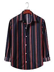 billige -Herre Stribet Skjorte Forretning Basale Daglig I-byen-tøj Sort / Blå