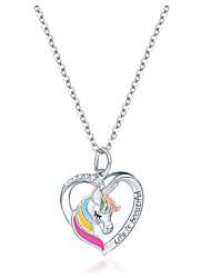 cheap -Women's Pendant Necklace Unicorn Heart Letter Sweet Cute Chrome Gold Silver 42 cm Necklace Jewelry 1pc For Gift Daily School