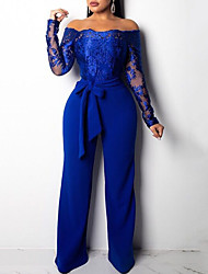 cheap -Jumpsuits Elegant Floral Engagement Formal Evening Dress Off Shoulder Long Sleeve Floor Length Lace Satin with Sash / Ribbon Embroidery 2021