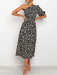 cheap -Women's Sundress Midi Dress - Half Sleeve Floral Print Summer Mumu Daily 2020 Black S M L XL
