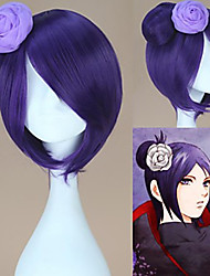 cheap -Naruto Akatsuki Konan Purple Cosplay Wigs Unisex Short Bob 12 inch Heat Resistant Fiber Bun Purple Teen Adults' Anime Wig