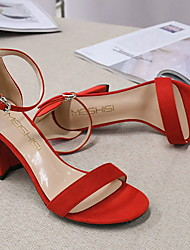 cheap -Women's Sandals Stiletto Heel Square Toe Daily PU Summer Nude Black Red
