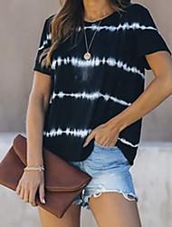 cheap -Women's T shirt Striped Round Neck Tops Cotton Black Blue Purple
