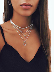 cheap -Women's Necklace Layered Necklace Stacking Stackable Simple European Trendy Fashion Chrome Gold Silver 35 cm Necklace Jewelry 1pc For Street Beach