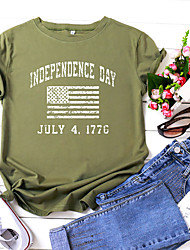 povoljno -Žene Majica s rukavima Slovo Državne zastave Print Okrugli izrez Tops 100% pamuk Osnovni Ljeto Lila-roza Crn Vojska Green