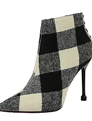 cheap -Women's Heels Summer Stiletto Heel Pointed Toe Daily Solid Colored Canvas Black / Red
