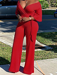 cheap -Jumpsuits Sexy Plus Size Wedding Guest Formal Evening Dress V Neck Half Sleeve Floor Length Satin with Sleek Sash / Ribbon 2020