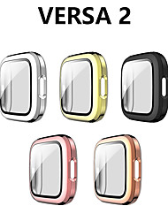 cheap -Protective Case Compatible for Fitbit Versa 2 with Screen Protector Hard PC Case Slim Tempered Glass Screen Protector Overall Protective Cover