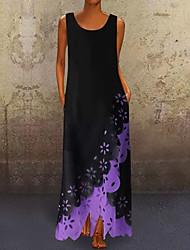cheap -Women's Maxi Swing Dress - Sleeveless Geometric V Neck White Blue Purple Yellow Blushing Pink S M L XL XXL XXXL
