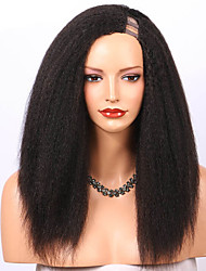 cheap -Remy Human Hair Wig Long kinky Straight U Part Natural Fashion For Black Women U Part Brazilian Hair Women's Natural Black #1B 8 inch 10 inch 12 inch