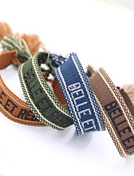 cheap -Women's Bracelet Loom Bracelet Pendant Bracelet Braided Alphabet Shape Birthday Tassel Casual / Sporty Sweet Fashion Colorful Lace Bracelet Jewelry Blue / Army Green / Orange For Sport Gift Formal