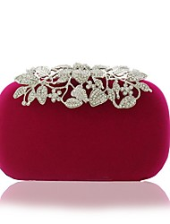 cheap -Women's Bags Satin Velvet Evening Bag Crystals Beading Wedding Bags Party Event / Party Black Blue Red Fuchsia