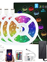 cheap -ZDM Upgraded 50ft (3*5M) App Intelligent Control Led Strip Lights IR 24 Key WIFI Controller 5050 RGB Waterproof LED Soft light strip with Adapter Kit DC12V