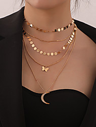 cheap -Women's Pendant Necklace Chain Necklace Necklace Stacking Stackable Moon Butterfly Simple Classic Rustic Trendy Chrome Gold Silver 68 cm Necklace Jewelry 1pc For Party Evening Prom Street Beach