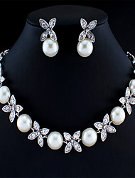 cheap -Women's White Pearl Bridal Jewelry Sets Hollow Out Flower Trendy Earrings Jewelry Silver For Festival 1 set