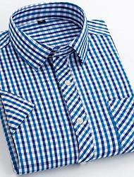 billige -Herre Ternet Blå & Hvid Skjorte Basale Hawaiiansk Daglig Weekend Sort / Blå / Rød / Army Grøn / Navyblå