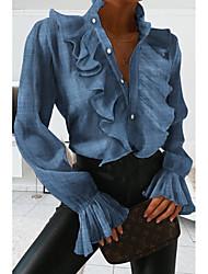 Χαμηλού Κόστους -Γυναικεία Πουκάμισο Μονόχρωμο Άριστος Όρθιος γιακάς Καθημερινά Θαλασσί M L XL 2XL 3XL