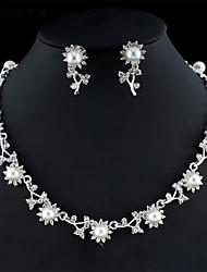 cheap -Women's White Pearl Bridal Jewelry Sets Geometrical Flower Trendy Earrings Jewelry Silver For Festival 1 set