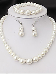cheap -Women's Bridal Jewelry Sets Imitation Pearl Earrings Jewelry White For Party Wedding Engagement Promise Festival Four-piece Suit