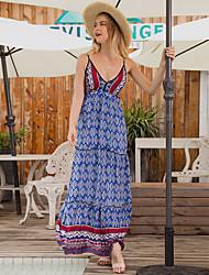 رخيصةأون -نسائي فستان خفيف فستان طويل - بدون كم هندسي الصيف عتيق بوهو 2020 أزرق البحرية S M L XL