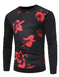 povoljno -Muškarci Pulover duks Cvjetni print Ležerne prilike Osnovni Hoodies majica Crn Red
