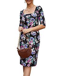 cheap -Women's Sheath Dress Knee Length Dress - Half Sleeve Floral Summer Work 2020 Black Blue Brown S M L XL XXL