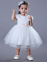 cheap -Ball Gown Medium Length Wedding / Birthday Flower Girl Dresses - Satin / Tulle Short Sleeve Jewel Neck with Beading / Embroidery / Flower