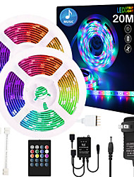 cheap -65ft 2x10 Meter Music Synchronous Happy Multicolour Light Strip Waterproof 5050 RGB LED Flexible Strip Light with 20 key IR Controller Optional with Adapter Kit DC12V