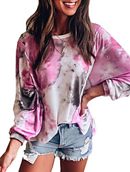 cheap -Women's T-shirt Tie Dye Tops Round Neck Daily Spring Fall Blushing Pink S M L XL