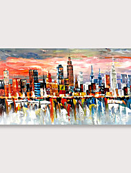 cheap -Canvas Wall Art Prints Modern Abstract Cityscape Painting ModernColorful New York Skyline Buildings Picture for Home Office Decor Rolled Without Frame