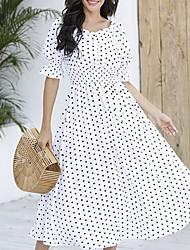 cheap -Women's Chiffon Dress Midi Dress - Half Sleeve Polka Dot Summer Work 2020 White S M L XL