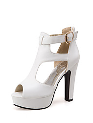 cheap -Women's Sandals 2020 Pumps Peep Toe Sexy Sweet Minimalism Daily Party & Evening PU Buckle Solid Colored Summer White Black Yellow