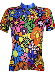 cheap -21Grams Women's Short Sleeve Cycling Jersey Summer Polyester Blue+Green Purple Blue Floral Botanical Plus Size Bike Jersey Top Mountain Bike MTB Road Bike Cycling Breathable Quick Dry Ultraviolet
