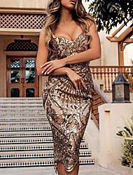 cheap -Women's Sheath Dress Midi Dress Gold Sleeveless Sequins Summer V Neck Hot Sexy 2021 S M L XL XXL