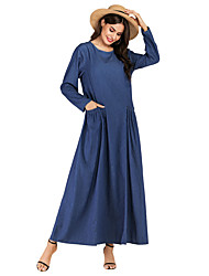 cheap -Women's Shift Dress Knee Length Dress - Long Sleeve Solid Color Pocket Spring Fall Casual Going out Cotton Loose 2020 Blue XXL 3XL 4XL