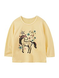 cheap -Kids Girls' Basic Horse Animal Print Long Sleeve Tee Yellow