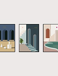 cheap -Framed Art Print Framed Set 3- Abstract Light Luxury Morandi PS Illustration Wall Art Ready To Hang