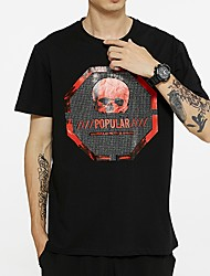 cheap -Men's Skull T shirt Sequins Short Sleeve Daily Tops Cotton Basic Round Neck White Black
