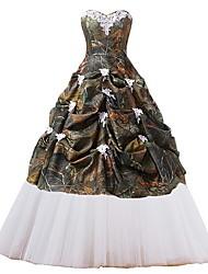 זול -נשף שמלות חתונה לב (סוויטהארט) עד הריצפה טול ללא שרוולים וינטאג' הסוואה עם תחרה משולבת אפליקציות 2020