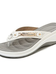 cheap -Women's Slippers & Flip-Flops Flip-Flops Outdoor Slippers Flat Heel Round Toe Daily PU Color Block Summer Almond White Black