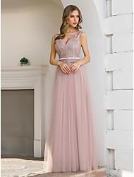 preiswerte -A-Linie Elegant Sexy Hochzeitsgast Formeller Abend Kleid V-Ausschnitt Ärmellos Boden-Länge Satin Tüll mit Schärpe / Band Paillette 2020