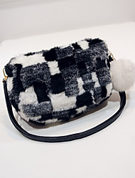 cheap -Women's Faux Fur Crossbody Bag Fur Bag Solid Color Earth Yellow / White / Black