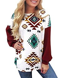 cheap -Women's Sweatshirt Geometric Casual White S M XL XXL